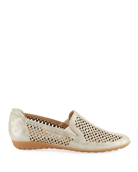 Byrna Metallic Perforated Leather Comfort Loafer