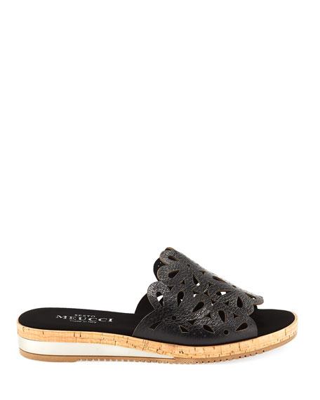 Senna Floral-Cut Leather Slide Sandal