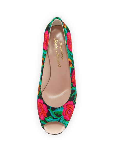 Bali Takumi Floral Peep-Toe Wedge Espadrille Sandal