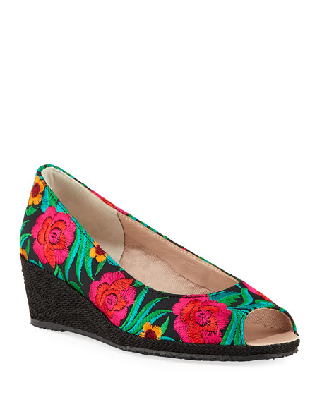 Sesto Meucci Bali Takumi Floral Peep-Toe Wedge Espadrille
