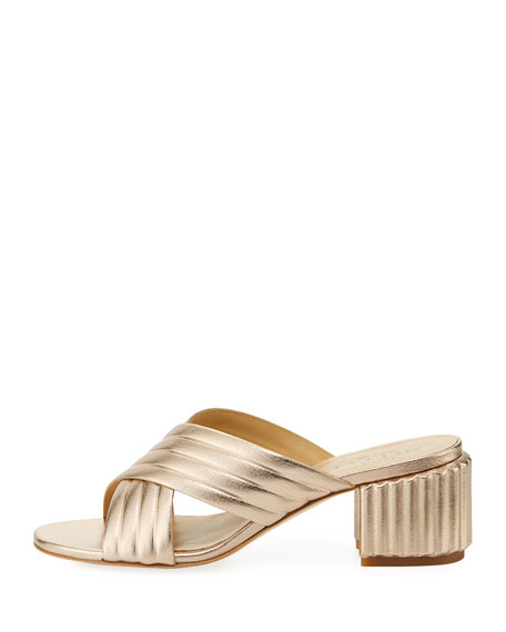 Maggy Block-Heel Metallic Leather Slide Sandal