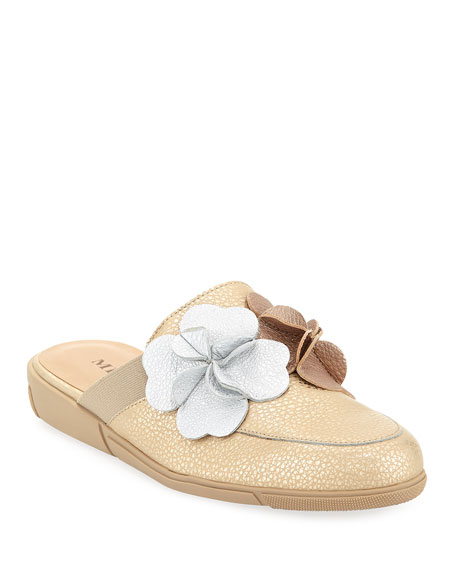 Sesto Meucci Diza Floral-Embellished Soft Leather Mule Flat