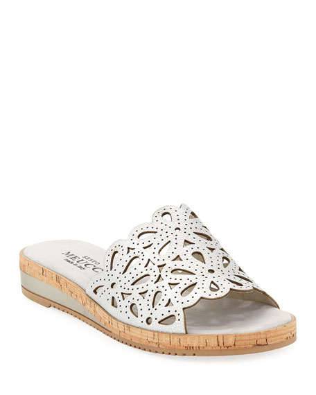 Sesto Meucci Senna Floral-Cut Leather Slide Sandal