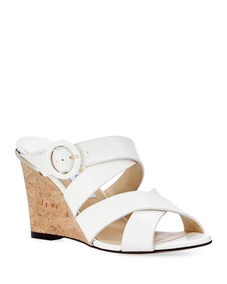 Jimmy Choo Delila Vachetta Leather Wedge Slide Sandal