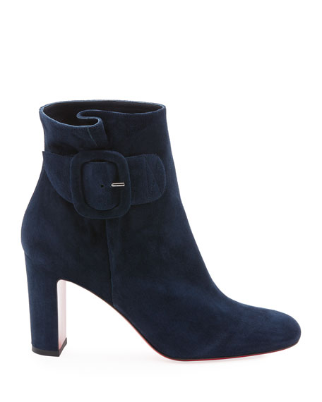 Tres Olivia Suede Buckled Red Sole Booties