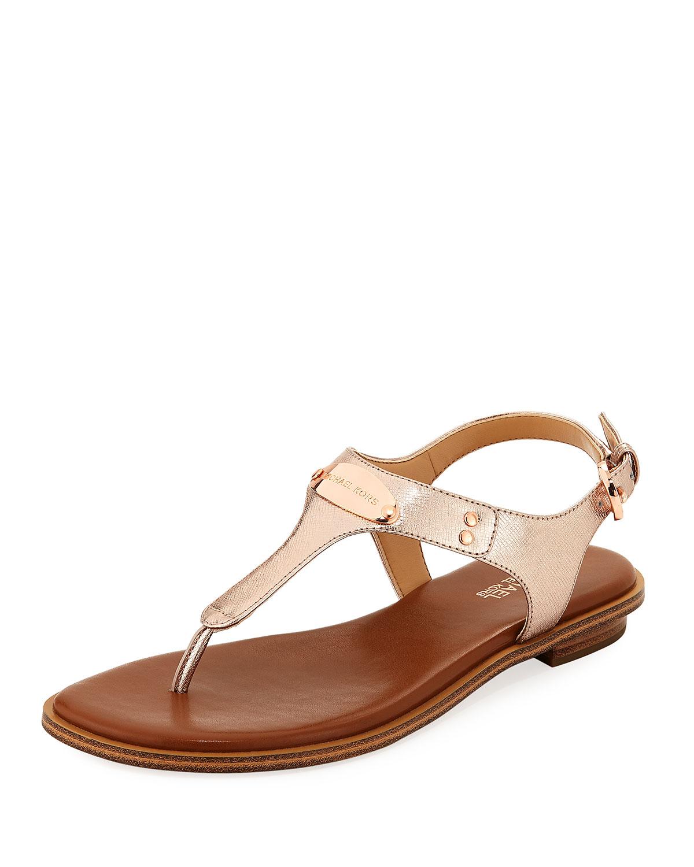 5d17fe93773 MICHAEL Michael Kors MK Plate Metallic Saffiano Flat Thong Sandal ...