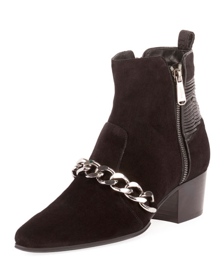 Ella Calfskin Chain-Trim Booties, Black