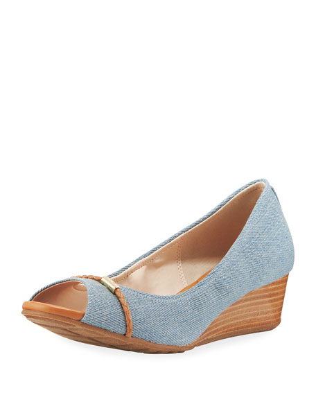 Cole Haan Emory Grand Denim Wedge Peep-Toe Pump