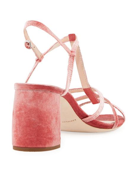 Elena Strappy Velvet Block-Heel Sandal