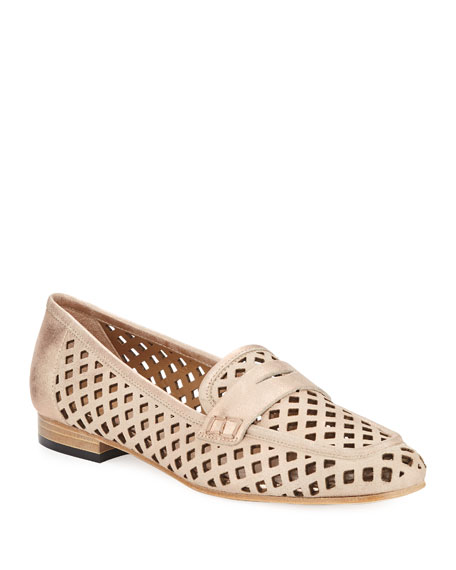 Mela Perforated Metallic Murales Leather Loafer