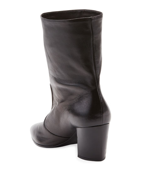 Western Leather Pointed Booties, Nero