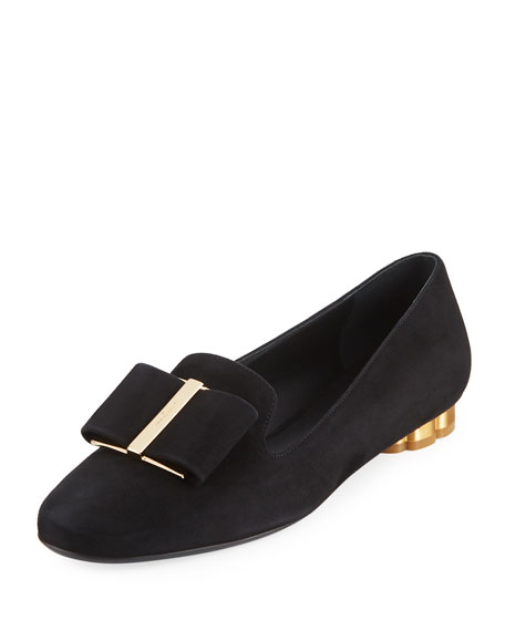Suede Loafer with Oversized Bow
