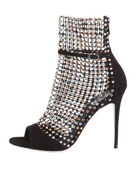Mesh Strass Caged Sandal, Black