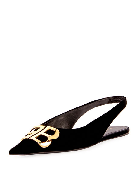 Knife Logo-Embellished Velvet Point-Toe Flats in Black