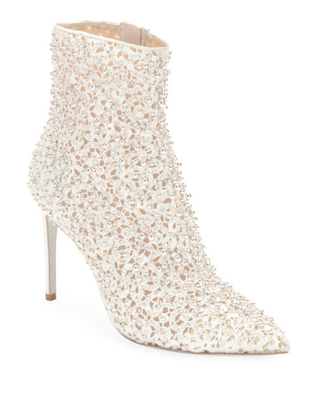 Rene Caovilla Embellished Bootie with Golden Beading