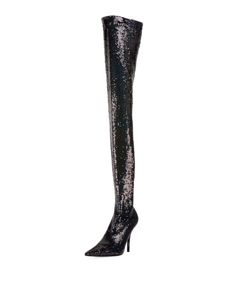 Sequined Knife Over-The-Knee Boot