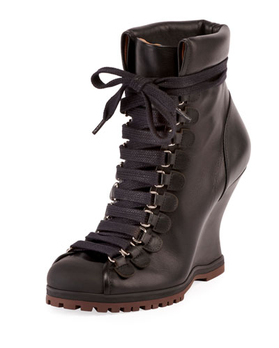 Leather Lace-Up Wedge Hiker Bootie