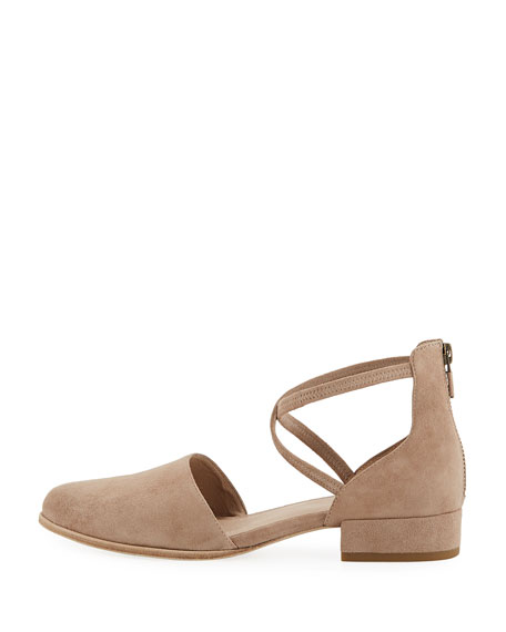 Lyton Suede Low-Heel Ankle-Wrap Flat