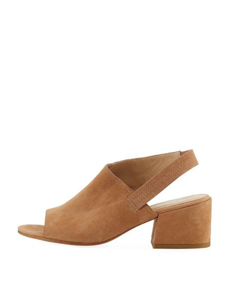 Leigh Nubuck Slingback Block-Heel Sandals