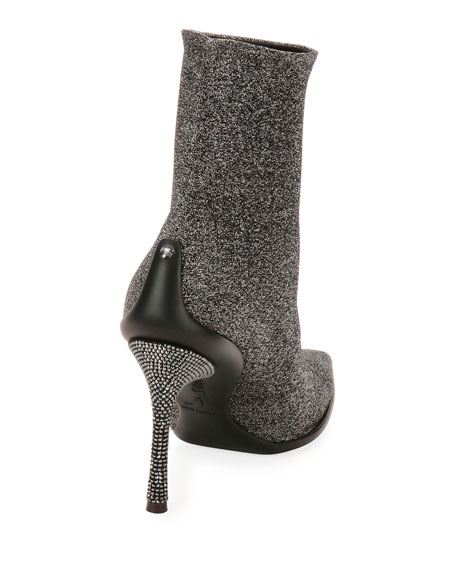 Stretch Metallic Booties with Crystal Heel