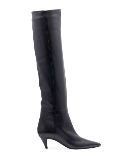 Charlotte Point-Toe Leather Knee Boot
