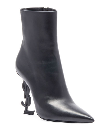 Saint Laurent Opyum Leather Booties with Monogram YSL