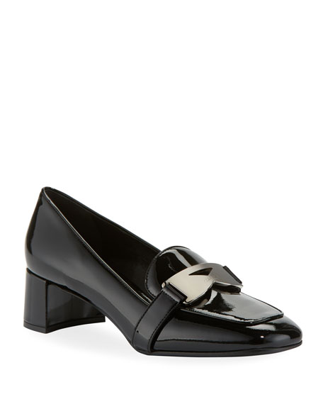 Prada 45mm Patent Leather Loafer Pump with Plaque