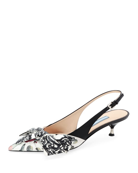 Lipstick-Print Slingback Pumps with Bow