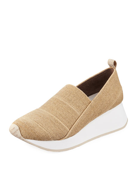 DONALD J PLINER Piper Stretch Linen Slip-On Sneakers in Natural