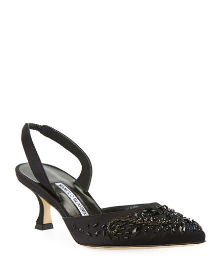 Carolyne Embroidered Satin Low-Heel Halter Pumps