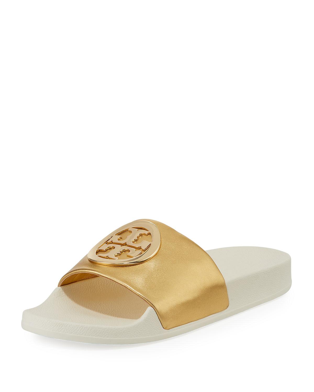 3633d0099cff Tory Burch Lina Metallic Leather Pool Slide Sandals