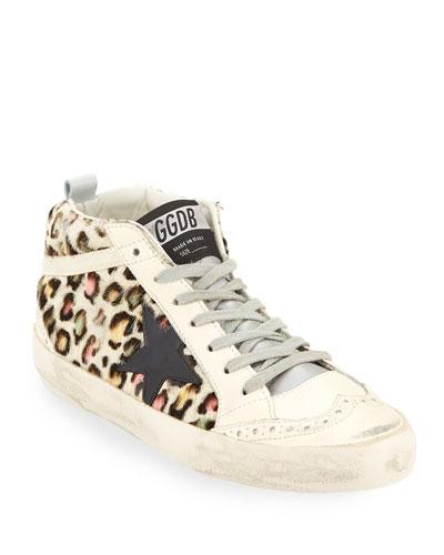 Superstar Leopard Calf Hair Mid-Top Sneakers