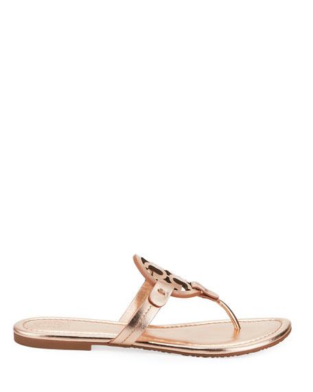 Miller Medallion Metallic Leather Flat Slide Sandal