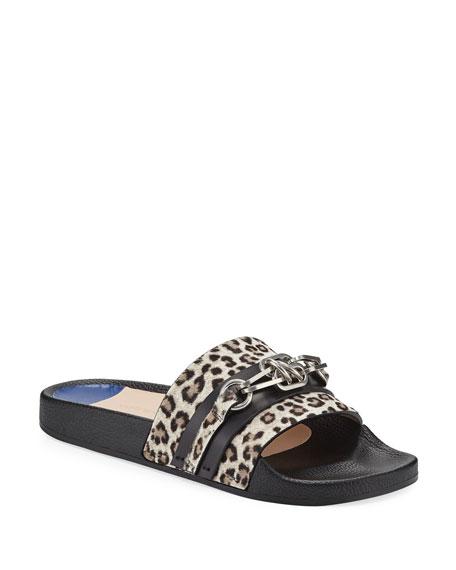 Cadena Leopard Chain Pool Slide Sandal