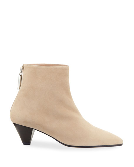 Pyramid Low-Heel Suede Booties