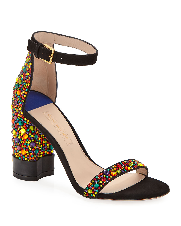 6e9a696c5 Stuart Weitzman Supernova Crystal Block-Heel Sandals