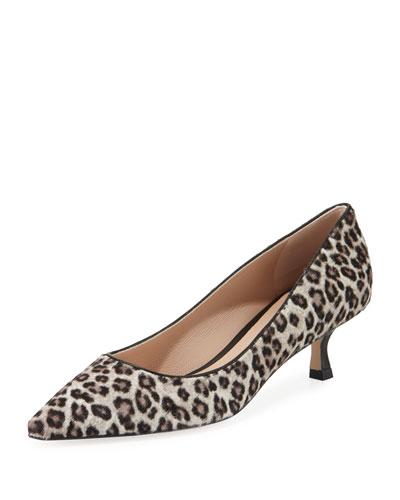 Tippi Low-Heel Leopard Pointed-Toe Pumps