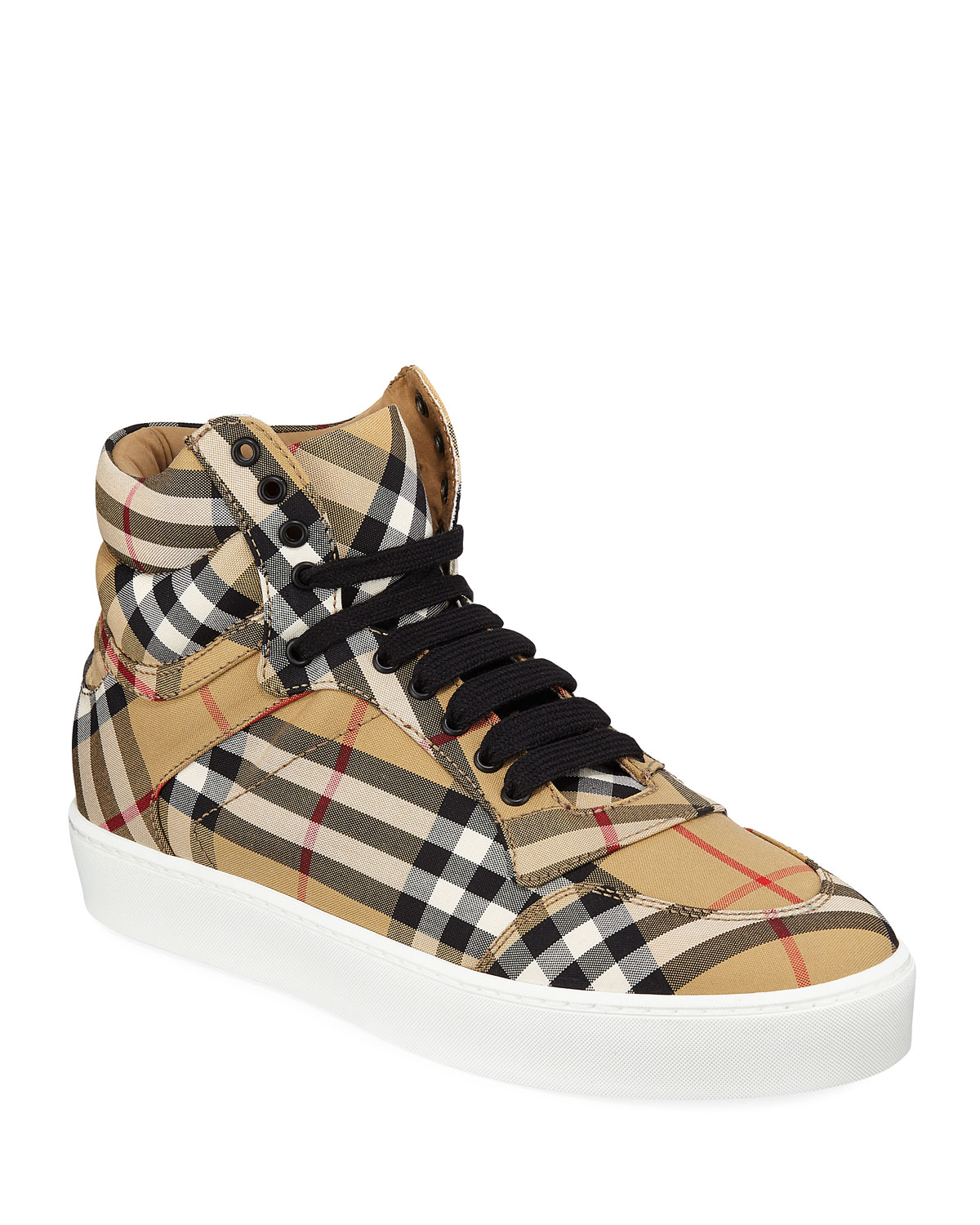 8db70c00919 Burberry Reeth Check Canvas High-Top Sneakers
