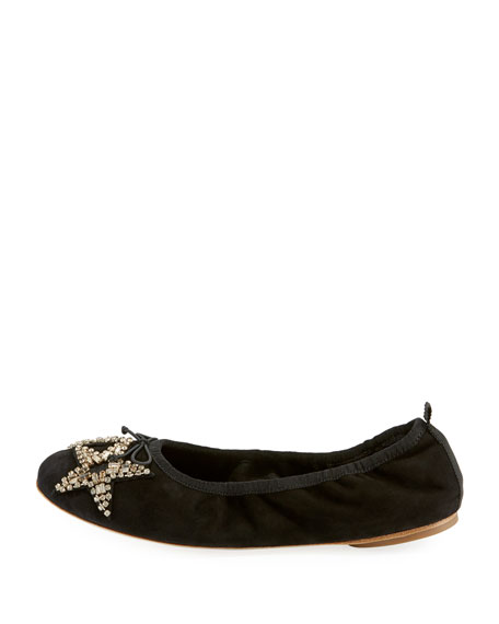 Margot Crystal Star Suede Ballet Flats