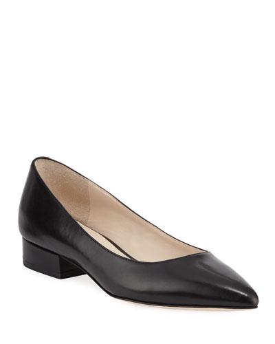 Vesta Grand Leather Skimmer Flats  Black