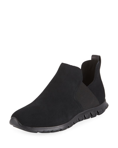 Zerogrand Suede Slip-On Sneakers, Black