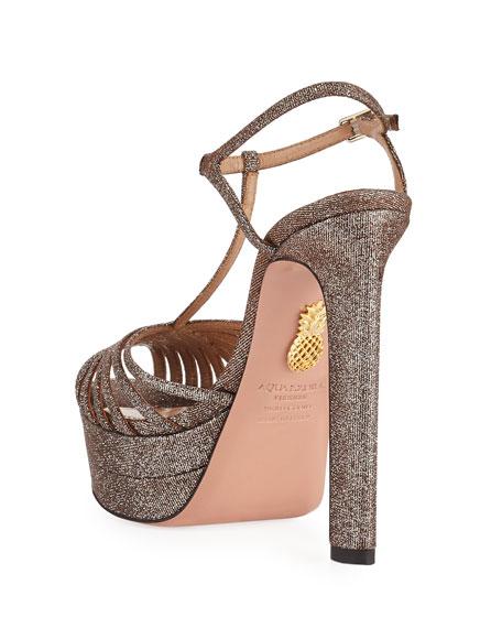 da9e383fd0c Aquazzura Moonlight Metallic Fabric Platform T-Strap Sandals ...