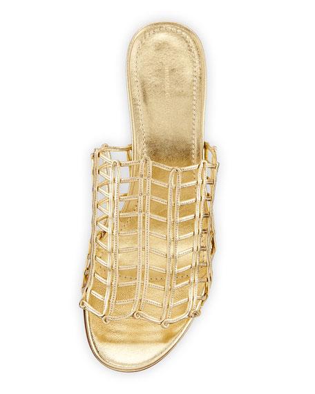 Grid Metallic Leather Cutout Block-Heel Mule Slide Sandals