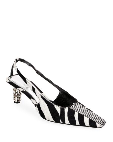 Zebra Animal-Print Velvet Slingback Pumps