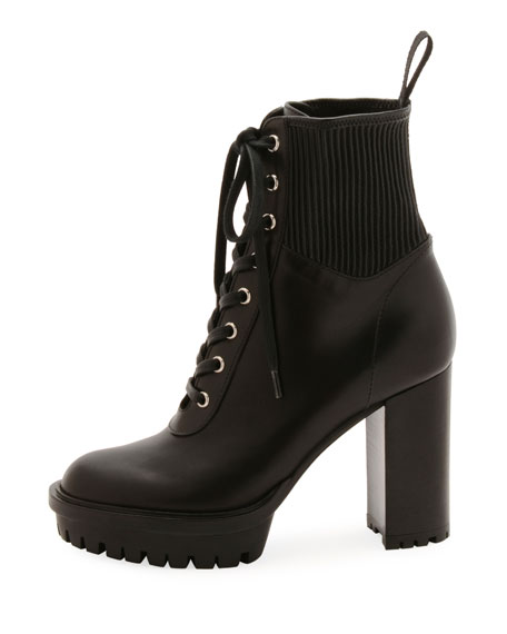 Leather Stretch Platform Combat Booties