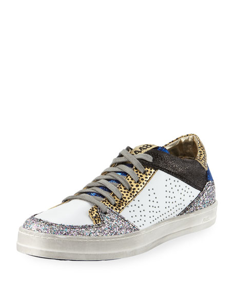 P448 Queens Low Top Sneakers In Velvet & Glitter by P448