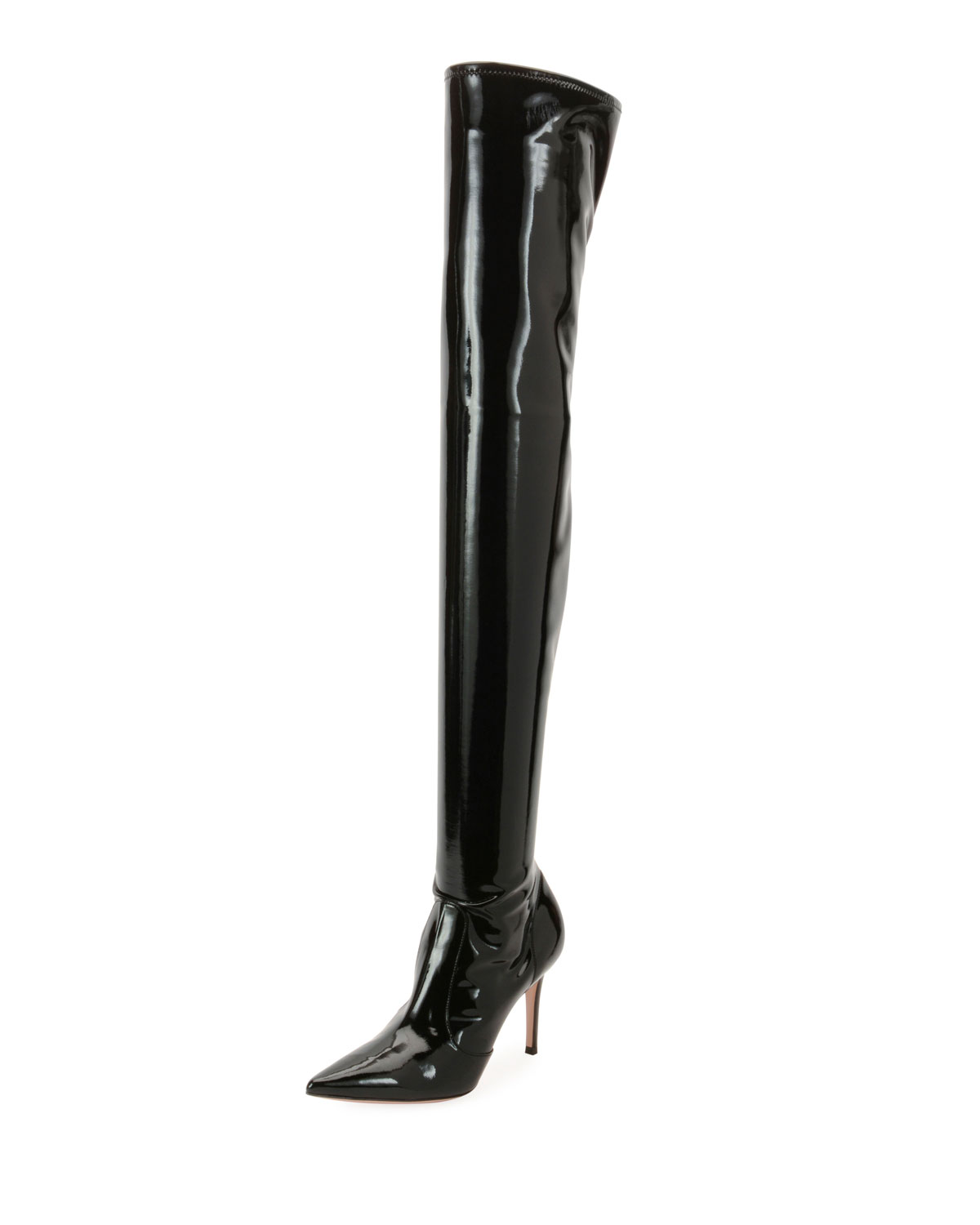 179a4961802 Gianvito Rossi Imogen Shiny Vinyl Over-The-Knee Boots