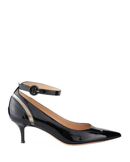 Shiny Patent Low-Heel Ankle-Strap Pumps