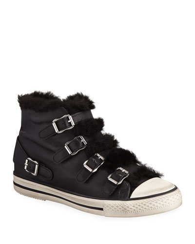 Valko Leather High-Top Sneakers with Faux Fur