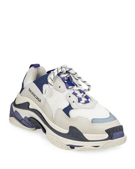 Triple-Sole Tricolor Mesh & Leather Trainer Sneaker